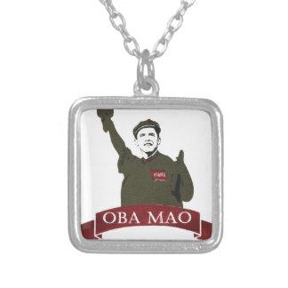 OBA MAO Obama + Statue of Liberty Parody Square Pendant Necklace