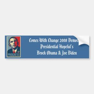 obama000_1, Comes With Change 2008 Democratic P... Bumper Sticker