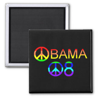 Obama 08 Peace Sign Rainbow Magnets