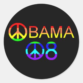 Obama 08 Rainbow Peace Sign Stickers