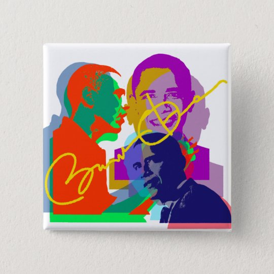 Obama 15 Cm Square Badge