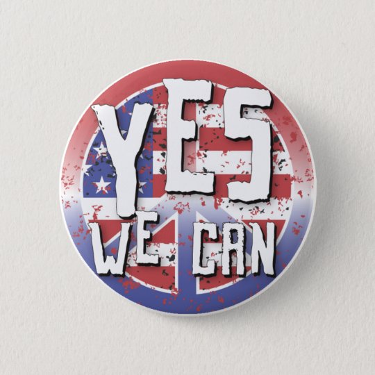 Obama 2008 Yes We Can Peace Button 61017