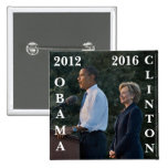 Obama 2012 & Clinton 2016 Pinback Buttons