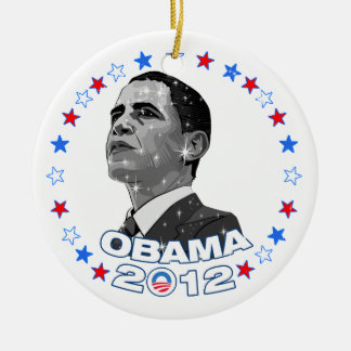 Obama 2012-Portrait & Stars Christmas Ornament