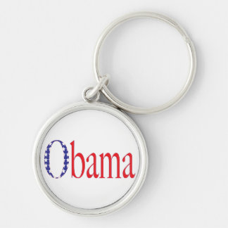 Obama 2012 Silver-Colored round key ring