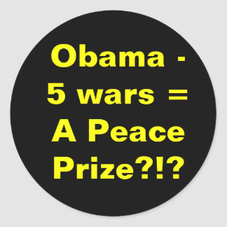 Obama 5 wars round sticker
