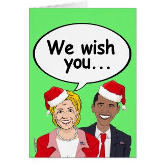 Obama and Hillary wish you Ameri-Christmas Greeting Card