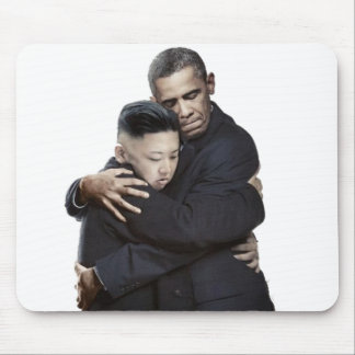 Obama and Kim Jong-Un Hugging Mouse Pad