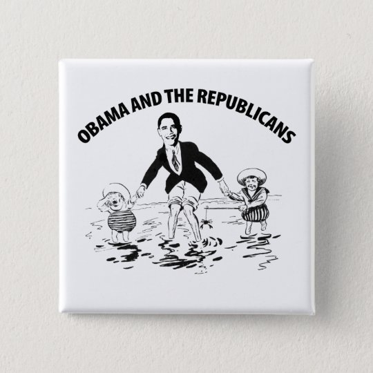 Obama and the Republicans 15 Cm Square Badge