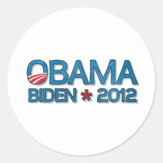 Obama Biden 2012 Dropshadow Blue Round Stickers
