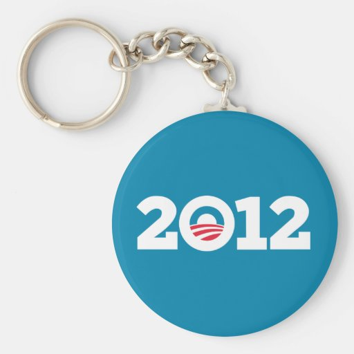 Obama / Biden 2012 (White on Blue) Basic Round Button Key Ring