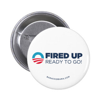 Obama Biden Fired Up, Ready To Go (White) 6 Cm Round Badge
