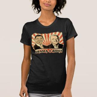 Obama Biden Portraits Ladies Sheer V-Nect T-Shirt