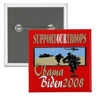 Obama Biden Support Our Troops 15 Cm Square Badge