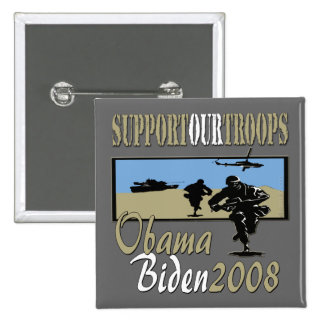 Obama Biden Support Our Troops copy 15 Cm Square Badge