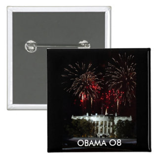 OBAMA BUTTON, FIREWORKS AT THE WHITE HOUSE 15 CM SQUARE BADGE