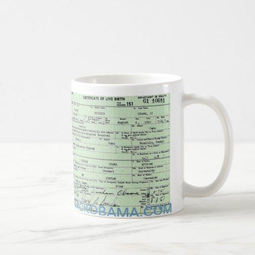 Obama Campaign Birth Certificate Mug