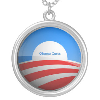 Obama Cares Round Pendant Necklace