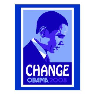 Obama - Change Blue Postcard