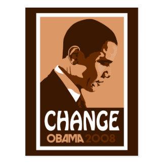 Obama - Change Dark Brown Postcard