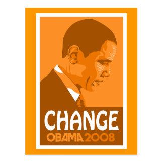 Obama - Change Dark Orange Postcard