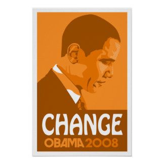 Obama - Change Dark Orange Poster