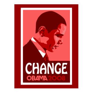 Obama - Change Dark Red Postcard