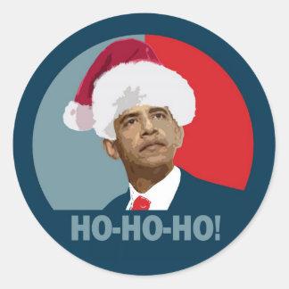 Obama Christmas Ho Ho Ho Round Sticker