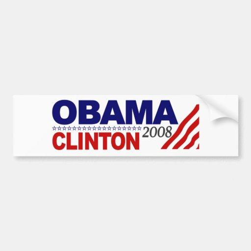 Obama Clinton 2008 Bumper Stickers