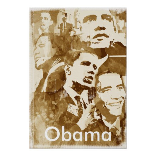 Obama Collage 2 poster (vintage colour) by