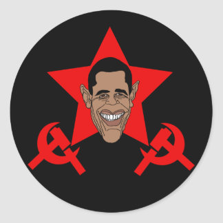 Obama Commie Round Stickers