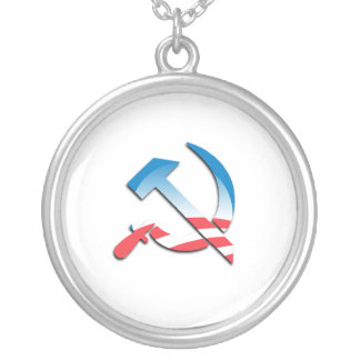 Obama Communist Symbol Round Pendant Necklace