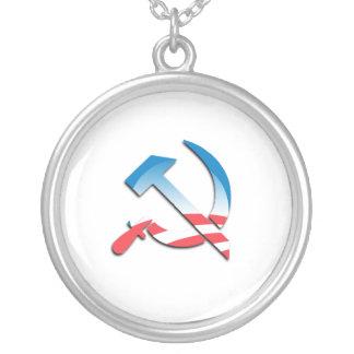 Obama Communist Symbol Round Pendant Necklace