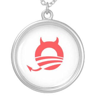 Obama devil round pendant necklace