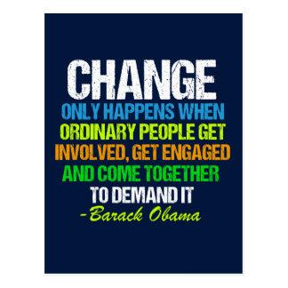 Obama Farewell Speech Quote on Change Postcard
