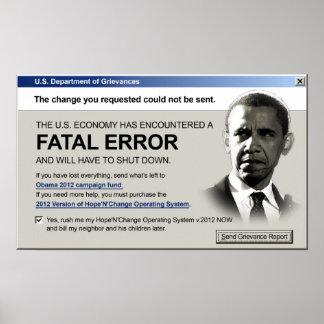 Obama - Fatal Error Protest Poster