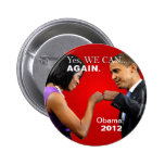 Obama Fist Bump - Yes we can, again 6 Cm Round Badge
