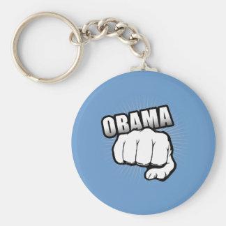 Obama fist pump basic round button key ring