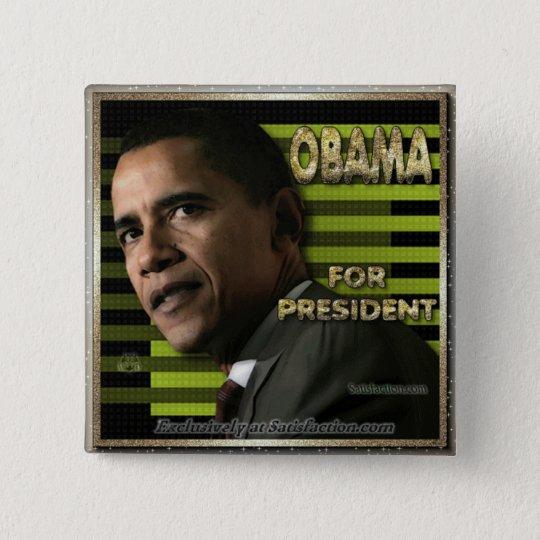 Obama for prez 15 cm square badge
