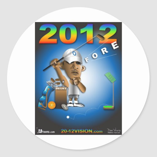 Obama Fore 2012 Round Stickers