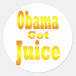 Obama Got Juice Orange Yellow Classic Round Sticker