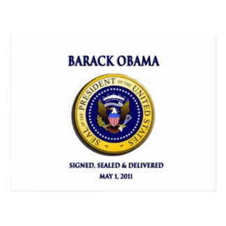 Obama Got Osama Signed Sealed & Delivered Postcard