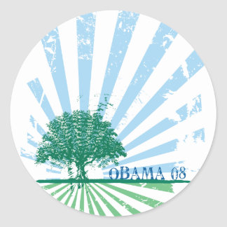 Obama Green Classic Round Sticker