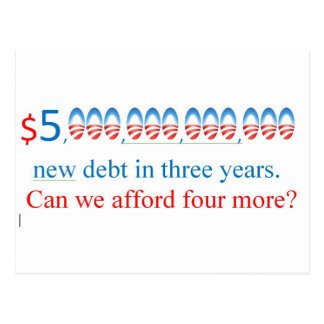 obama has too much debt,  can we afford more? postcard