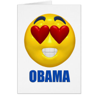 Obama Heart Smiley Face Greeting Cards