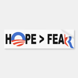 Obama Hope Greater Than Fear Romney 2012 Bumper Stickers
