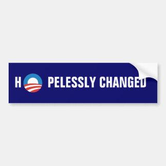 "Obama ""Hopelessly Changed"" Bumper Sticker"