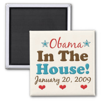 Obama In The House Square Magnet