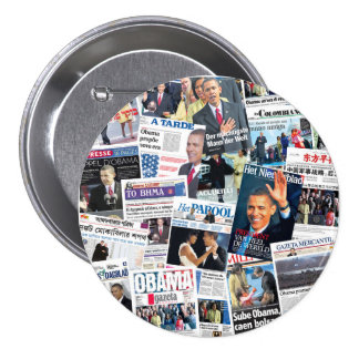 Obama International Inauguration Newspaper Button