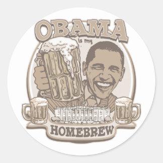 Obama is My HomeBrew by Buttonzup Classic Round Sticker
